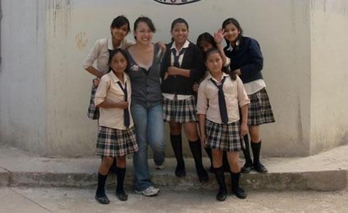 Erika with JWS students