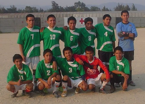 John Wesley School soccer team (Gaspar is in red)